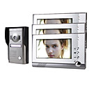 Three 7 Inch Monitor  Color Video Door Phone System with  Alloy Weatherproof Cover Camera