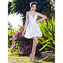 A-line Halter Short/Mini Taffeta Wedding Dress