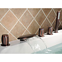 Oil-rubbed Bronze Waterfall Tub Faucet with Hand Shower