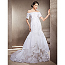 Trumpet/Mermaid Off-the-shoulder Chapel Train Taffeta And Lace Wedding Dress