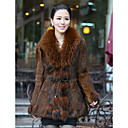 Shawl Collar Long Sleeve Rabbit Fur Party Coat