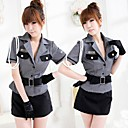 Elegant Gray Polyester Police Uniform (4 Pieces)