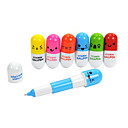 Retractable Lovely Vitamin Pill Style Blue Ink Ballpoint Pen (Random Color) 