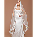 One-tier Chapel Veil With Lace Applique Edge (More Colors Available)