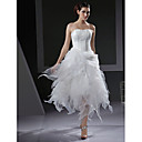 A-line / Ball Gown Strapless Asymmetrical Organza Wedding Dress