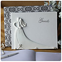 Bride and Groom Design Wedding Guest Book in White Resin