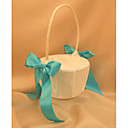 Ivory Flower Girl Basket With Light Blue Ribbon