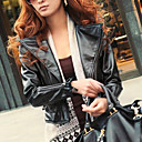 Long Sleeve Turndown Collar PU Jacket With Pockets