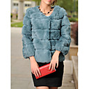 Collarless 3/4 Sleeve Rabbit Fur Party/Evening/Casual Jacket (More Colors)