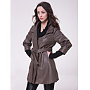 3/4 Sleeve Turndown Collar Party/ Career Lambskin Leather Coat With Belt  (More Colors)