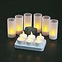 6 pc Warm Yellow  LED Rechargeable Flameless Tea Light Candles
