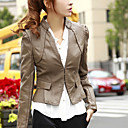 Long Sleeve Standing Collar PU Jacket With Pockets/ Buttons(More Colors)