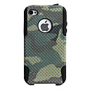 Camouflage Pattern Lagging Silicone and PC Case for iPhone 4 and 4S (Green)