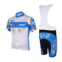 Kooplus - Quick Dry Mens BIB Short Cycling Sets(Blue Wing/Red Wing)