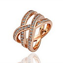 Gorgeous Cubic Zirconia 18K Gold Plated Net Shape Fashion Ring