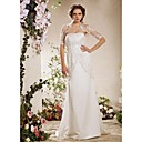 Sheath/Column Strapless Court Train Satin Lace Weeding Dress With A Wrap