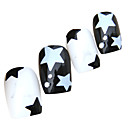 Two-tone Five-pointed star Style Nail Art Tips With Glue (24pcs)
