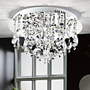Modern Crystal Flush Mount with 5 Lights Stainless Steel Base