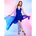 A-line Halter Asymmetrical Chiffon And Stretch Satin Cocktail Dress