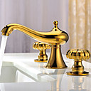 Ti-PVD Finish Solid Brass Contemporary Widespread Bathroom Sink Faucet