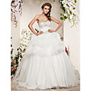 Ball Gown Sweetheart Sweep/Brush Train Satin Tulle Wedding Dress