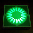 15 - LED Artistic Glass Underground Lights Solar Powered Floral Design