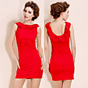 TS Backless Lotus Leaf Collar Sheath Red Dress