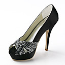 Satin Stiletto Heel Peep Toe Sandals With Sequin Wedding Shoes (More Colors)