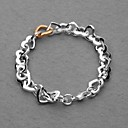 Gorgeous Silver Plated Double Color Heart Unisex Bracelet