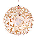 Dia10 40W Wood Pendant Light in Globe Feature