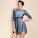 TS Mid Sleeve Irregular Hem Lace Dress