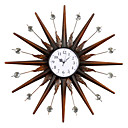 "24"" Sun Theme Retro Iron Wall Clock with Acrylic Crystal"