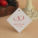 Personalized Rhombus Favor Tag - Red Hearts (Set of 30)