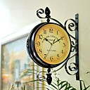Vintage Style Double Dial Wall Clock in Iron