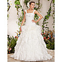 Ball Gown Straps Chapel Train Beading Flower(s) Cascading Ruffles Wedding Dress