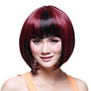Capless Short Top Grade Synthetic Japanese Kanekalon Straight Bob Wig Full Bang Mixed-Color