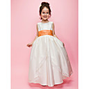 A-line/Ball Gown Jewel Floor-length Taffeta Flower Girl Dress With Runched Ribbon