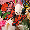Beautiful Red And Black Plastic Butterfly - Set Of 6