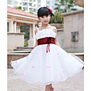 A-line Square Satin Flower Girl Dress With Flower(s)