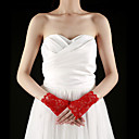Lace Fingerless Wrist Length Bridal Gloves With Embroidery (More Colors)
