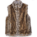 Hooded Collar Evening/ Career Imitation Mink Fur Veat