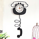 "21"" Telephone Patterned Wall Clock in Metal"