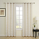 (Two Panels) Pastoral Leaves Jacquard Energy Saving Curtains