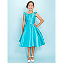 A-line Scoop Knee-length Taffeta Junior Bridesmaid Dress