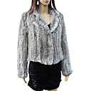 Elegant Long Sleeve Turndown Collar Evening Rabbit Fur Jacket