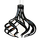 60W Comtemporary Pendant Light with 1 Light in White Acrylic Black Shade Spiral Designed
