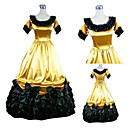 Gorgerous Short Sleeve Floor-length Yellow Satin Black Trim Princess Lolita Dress