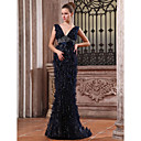 Trumpet Mermaid V-neck Sweep Brush Train Tulle Luxurious Dresses