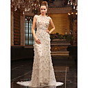 Sheath Column Bateau Sweep Brush Train Tulle Over Chiffon Luxurious Dresses