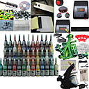 2 Guns Tattoo Kit with Dual Output LCD Power and 54 Color Ink